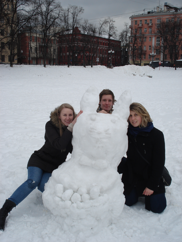 Schneehäschen in Moskau